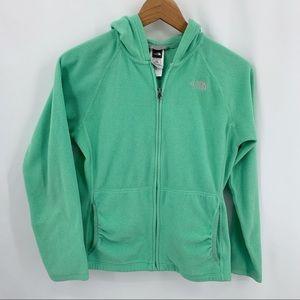 North Face light green zip fleece hooded jacket L